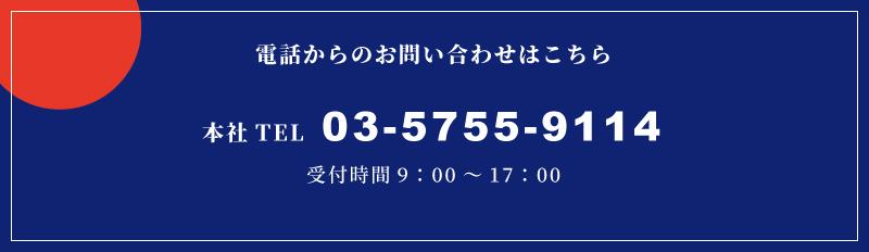 電話からのお問い合わせは03-5755-9114